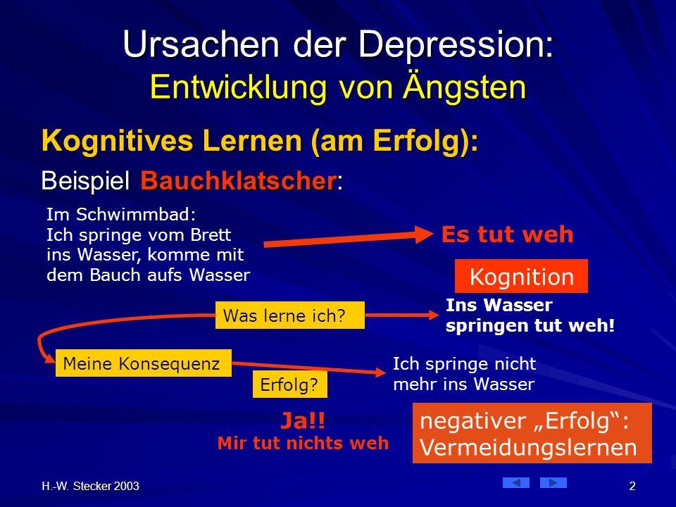 H.-W. Stecker 2003 2 Im Schwimmbad: Ich springe vom Brett ins Wasser, komme mit dem Bauch aufs Wasser Ursachen der Depression: Entwicklung von Ängsten