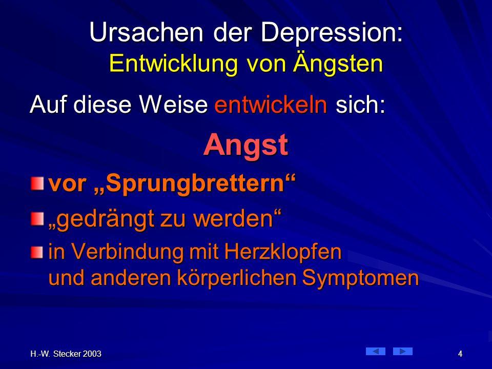 H.-W. Stecker 2003 4 Ursachen der Depression: Entwicklung von Ängsten Auf diese Weise entwickeln sich: Angst vor Sprungbrettern gedrängt zu werden in