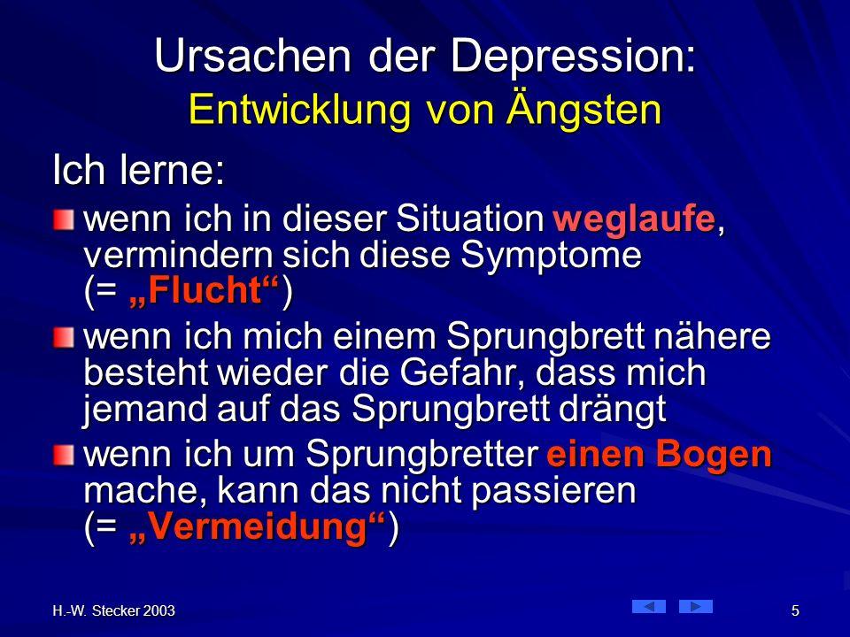 H.-W. Stecker 2003 5 Ursachen der Depression: Entwicklung von Ängsten Ich lerne: wenn ich in dieser Situation weglaufe, vermindern sich diese Symptome