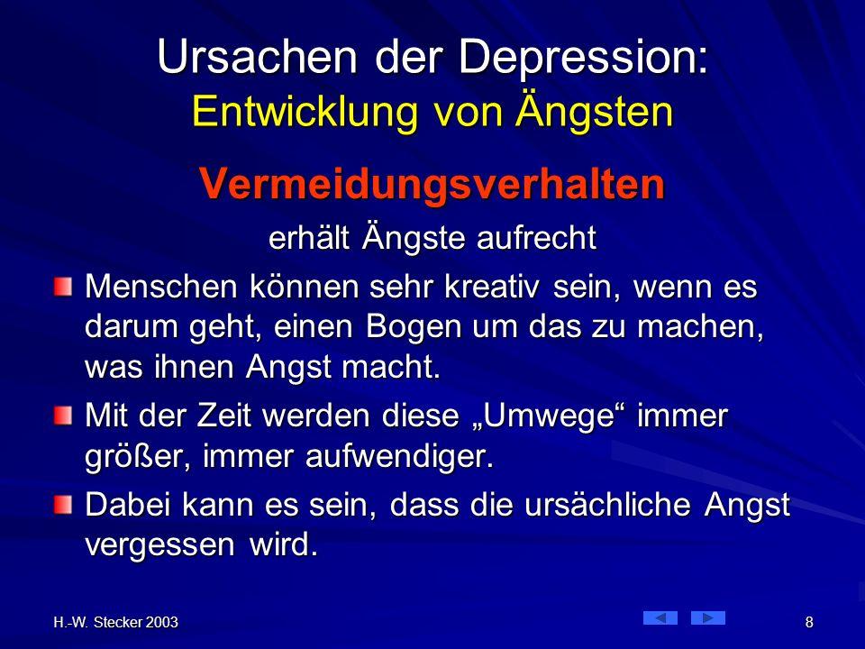 H.-W. Stecker 2003 8 Ursachen der Depression: Entwicklung von Ängsten Vermeidungsverhalten erhält Ängste aufrecht Menschen können sehr kreativ sein, w