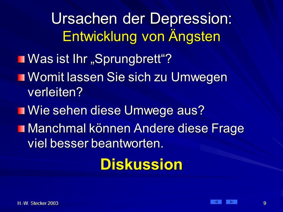 H.-W. Stecker 2003 9 Ursachen der Depression: Entwicklung von Ängsten Was ist Ihr Sprungbrett? Womit lassen Sie sich zu Umwegen verleiten? Wie sehen d