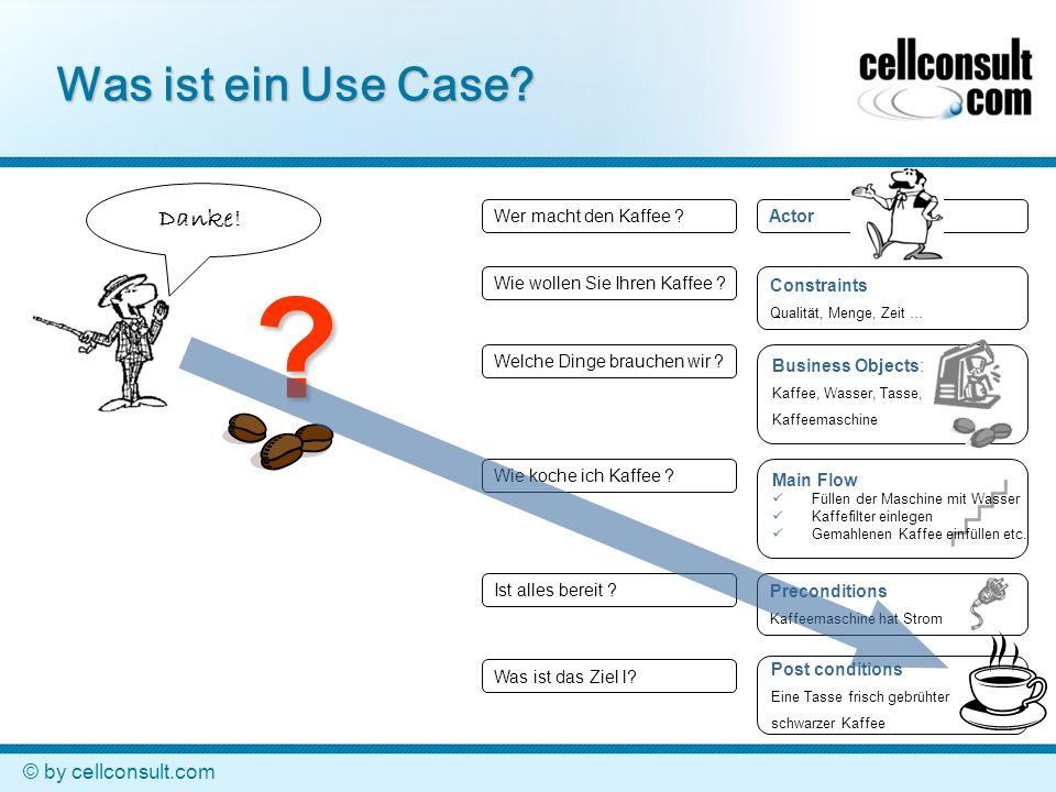 © by cellconsult.com Actor Was ist ein Use Case? Was ist das Ziel l? Welche Dinge brauchen wir ? Wie koche ich Kaffee ? Wer macht den Kaffee ? Ist all