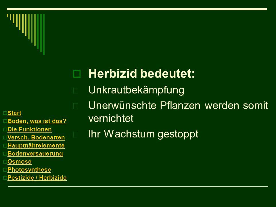 Herbizid bedeutet:  Unkrautbekämpfung  Unerwünschte Pflanzen werden somit vernichtet  Ihr Wachstum gestoppt Start Boden, was ist das? Die Funktione