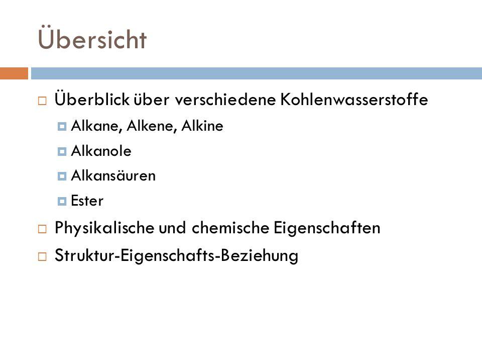 Übersicht Überblick über verschiedene Kohlenwasserstoffe Alkane, Alkene, Alkine Alkanole Alkansäuren Ester Physikalische und chemische Eigenschaften S