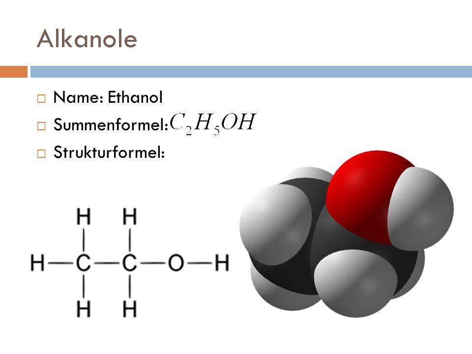 Alkansäuren Name: Ethansäure Summenformel: Strukturformel: