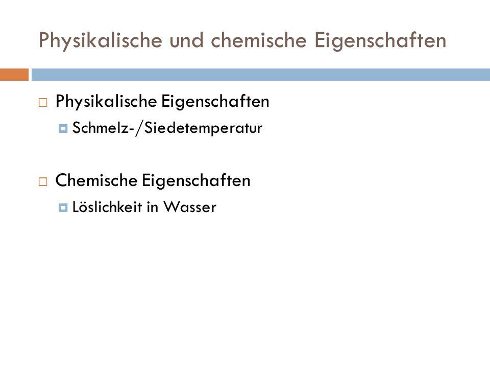 Physikalische und chemische Eigenschaften Schmelz- temperatur Siede- temperatur LöslichkeitReaktivität Alkane (Butan) sehr schlecht in Wasser (61 mg/l bei 20 °C) Alkene (Buten) praktisch unlöslich in Wasser, leichtlöslich in Ethanol und Ether Alkine (Butin) schlecht in Wasser (4,4 g·l 1 bei 20 °C)