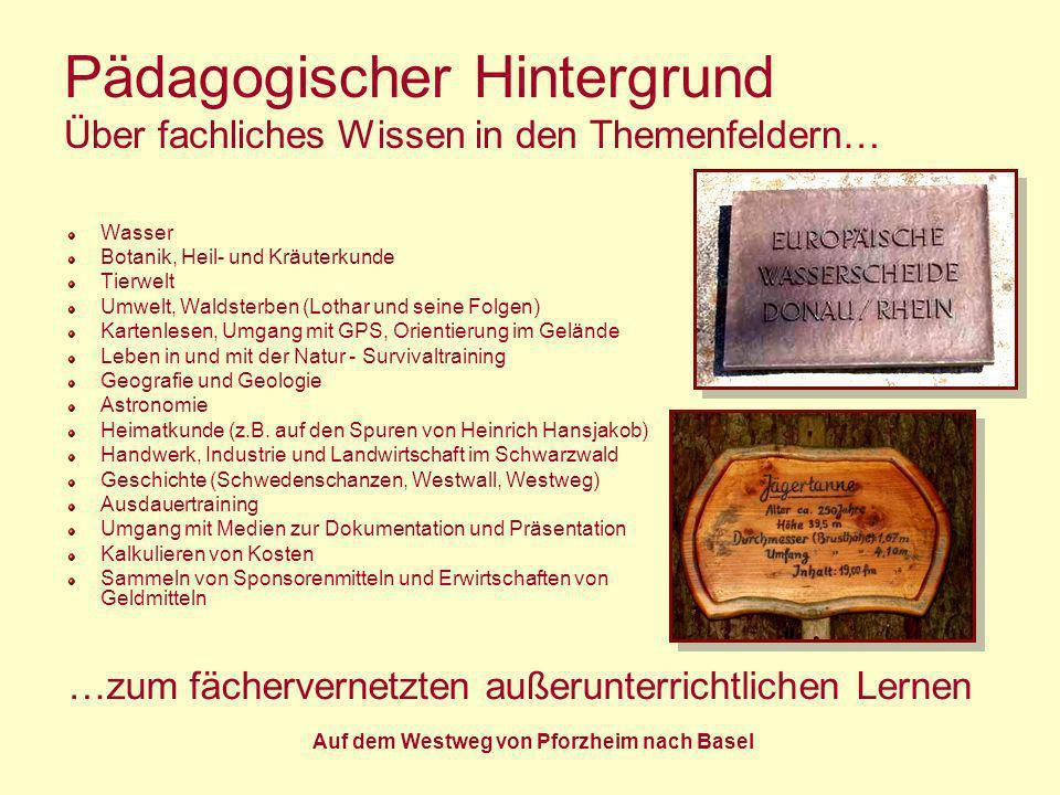 Auf dem Westweg von Pforzheim nach Basel Pädagogischer Hintergrund Über fachliches Wissen in den Themenfeldern… Wasser Botanik, Heil- und Kräuterkunde