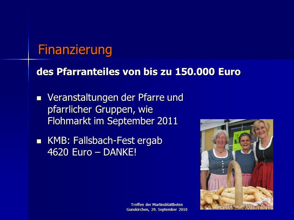 Treffen der Martinsblattboten Gunskirchen, 29. September 2010 des Pfarranteiles von bis zu 150.000 Euro Veranstaltungen der Pfarre und pfarrlicher Gru