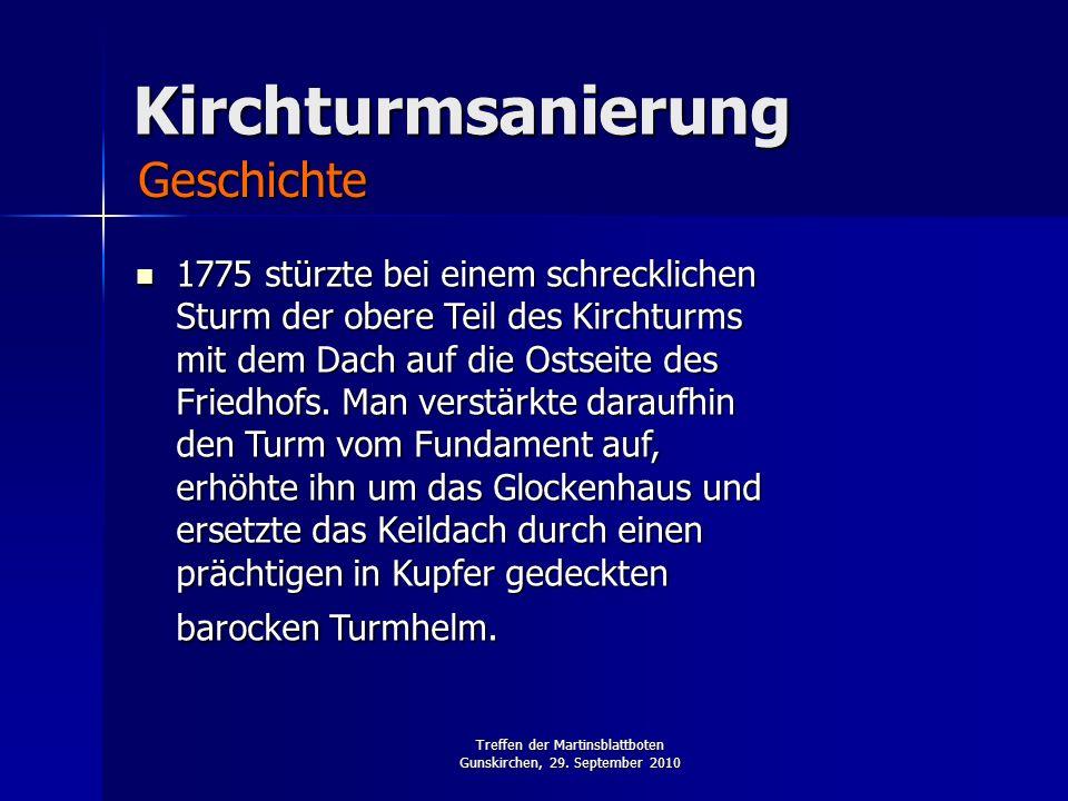 Treffen der Martinsblattboten Gunskirchen, 29. September 2010 Kirchturmsanierung 1775 stürzte bei einem schrecklichen Sturm der obere Teil des Kirchtu
