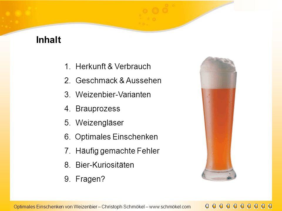Optimales Einschenken von Weizenbier – Christoph Schmökel – www.schmökel.com Inhalt 1.Herkunft & Verbrauch 2.Geschmack & Aussehen 3.Weizenbier-Variant