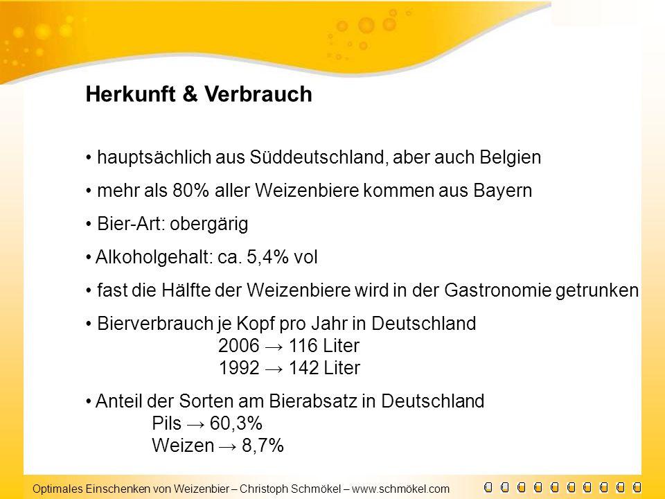 Optimales Einschenken von Weizenbier – Christoph Schmökel – www.schmökel.com Herkunft & Verbrauch hauptsächlich aus Süddeutschland, aber auch Belgien