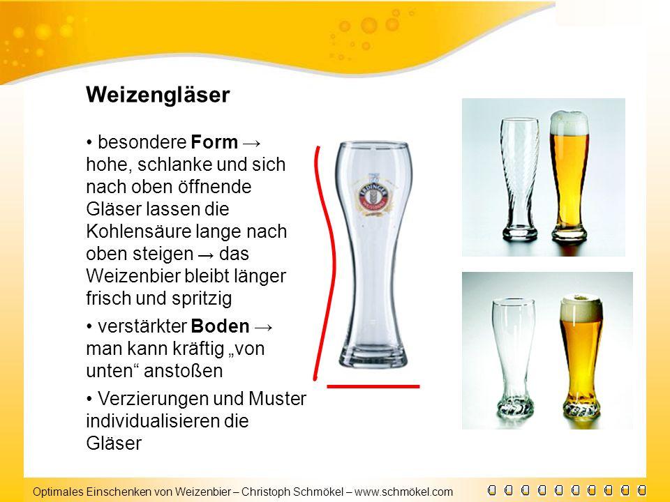 Optimales Einschenken von Weizenbier – Christoph Schmökel – www.schmökel.com Weizengläser besondere Form hohe, schlanke und sich nach oben öffnende Gl