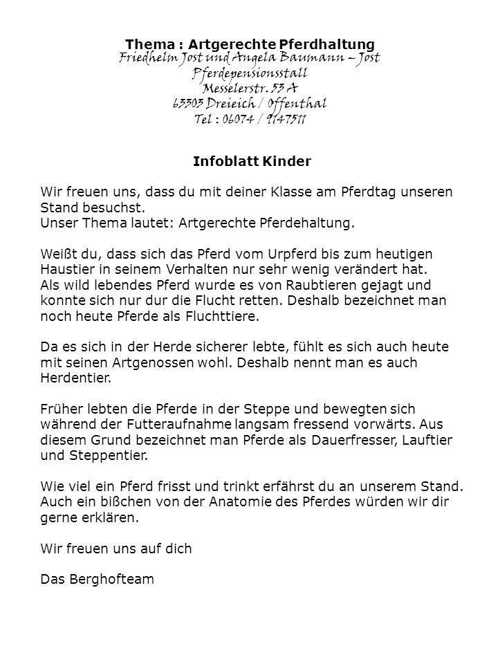 Thema : Artgerechte Pferdhaltung Friedhelm Jost und Angela Baumann – Jost Pferdepensionsstall Messelerstr.