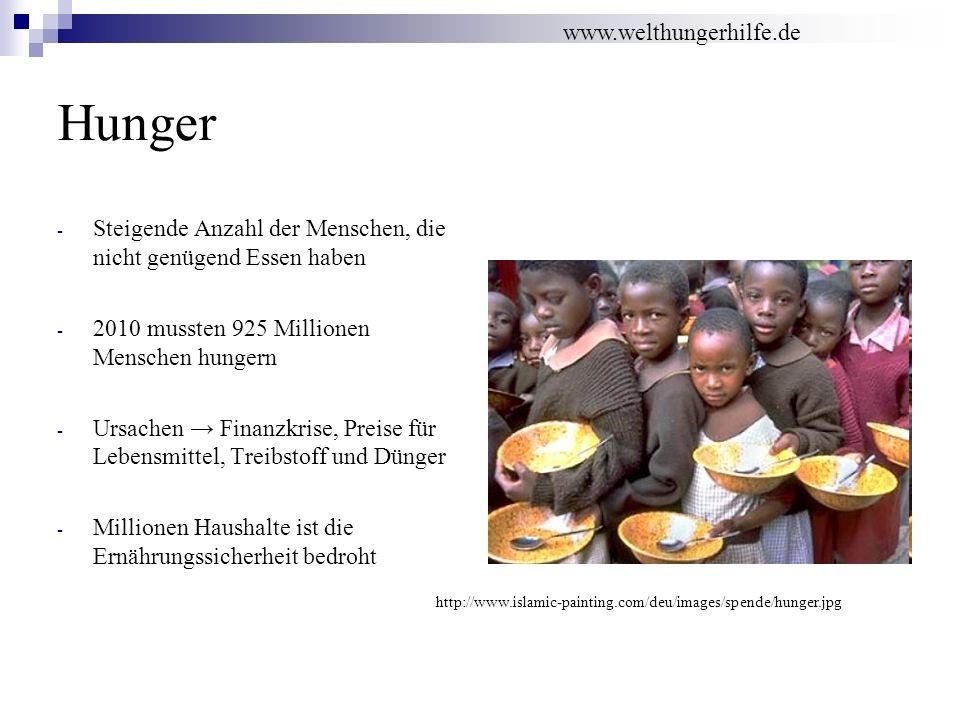 Hunger - Steigende Anzahl der Menschen, die nicht genügend Essen haben - 2010 mussten 925 Millionen Menschen hungern - Ursachen Finanzkrise, Preise fü