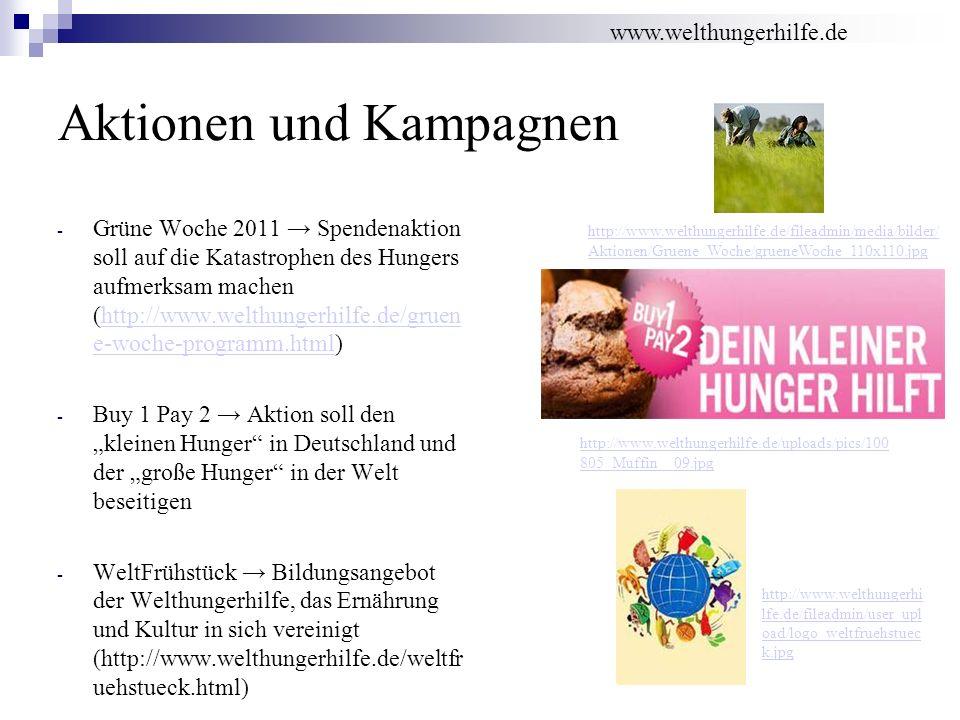 Aktionen und Kampagnen - Grüne Woche 2011 Spendenaktion soll auf die Katastrophen des Hungers aufmerksam machen (http://www.welthungerhilfe.de/gruen e