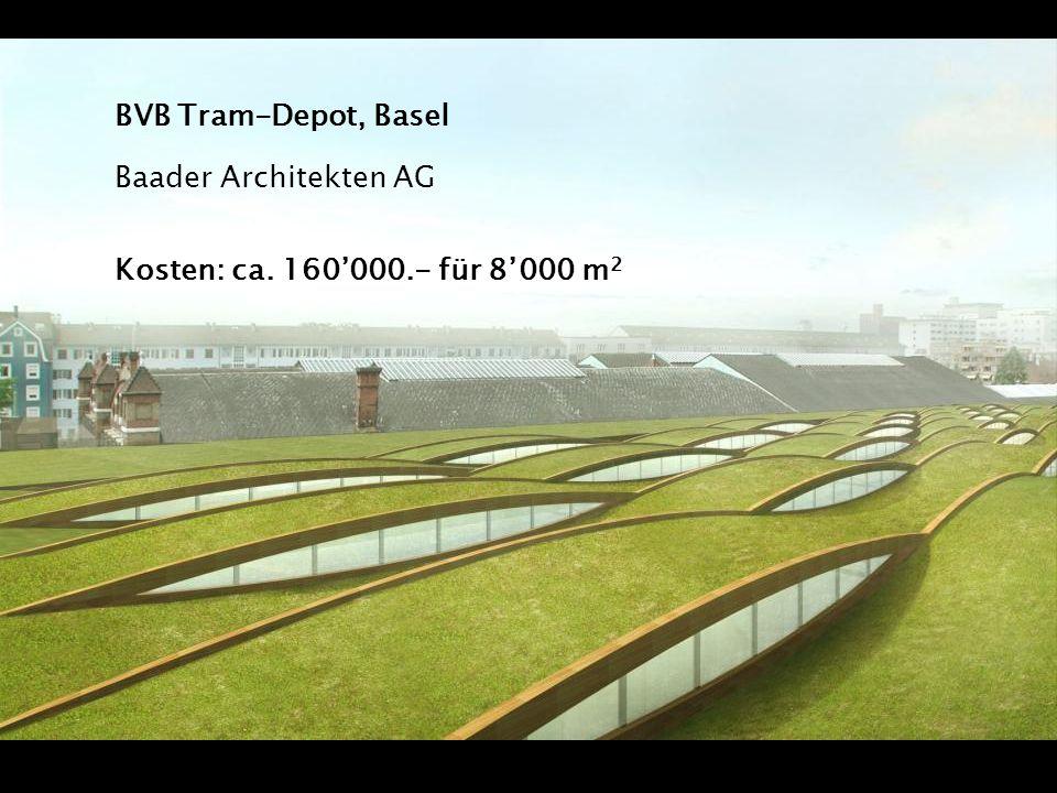 BVB Tram-Depot, Basel Baader Architekten AG Kosten: ca. 160000.- für 8000 m 2