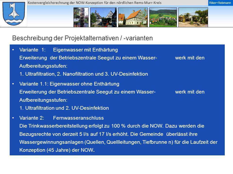 Riker + Rebmann Kostenvergleichsrechnung der NOW-Konzeption für den nördlichen Rems-Murr-Kreis Riker+Rebmann Beschreibung der Projektalternativen / -v