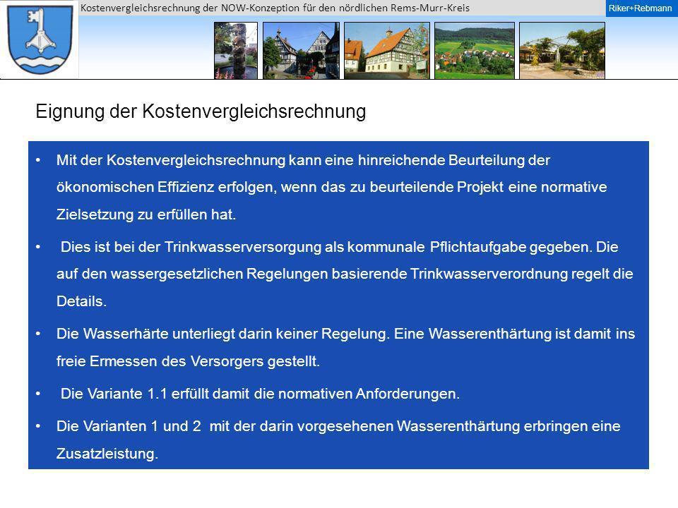 Riker + Rebmann Kostenvergleichsrechnung der NOW-Konzeption für den nördlichen Rems-Murr-Kreis Riker+Rebmann Eignung der Kostenvergleichsrechnung Mit