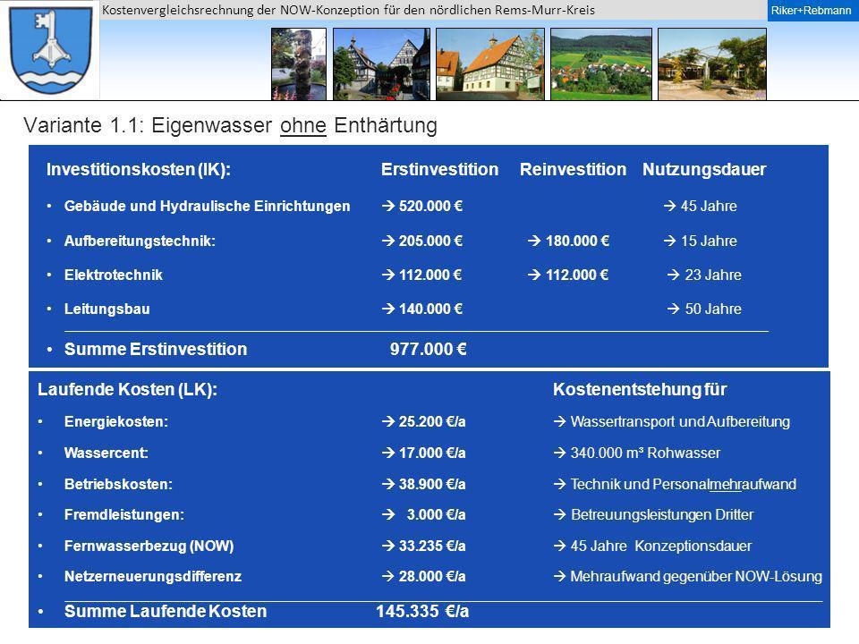 Riker + Rebmann Kostenvergleichsrechnung der NOW-Konzeption für den nördlichen Rems-Murr-Kreis Riker+Rebmann Variante 1.1: Eigenwasser ohne Enthärtung