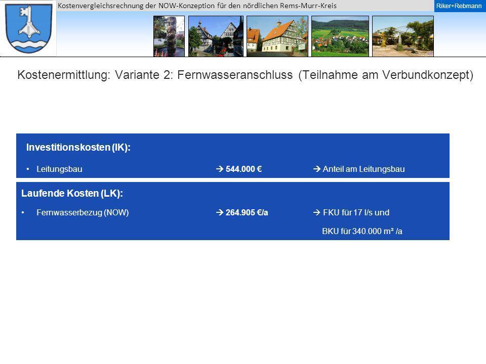Riker + Rebmann Kostenvergleichsrechnung der NOW-Konzeption für den nördlichen Rems-Murr-Kreis Riker+Rebmann Kostenermittlung: Variante 2: Fernwassera