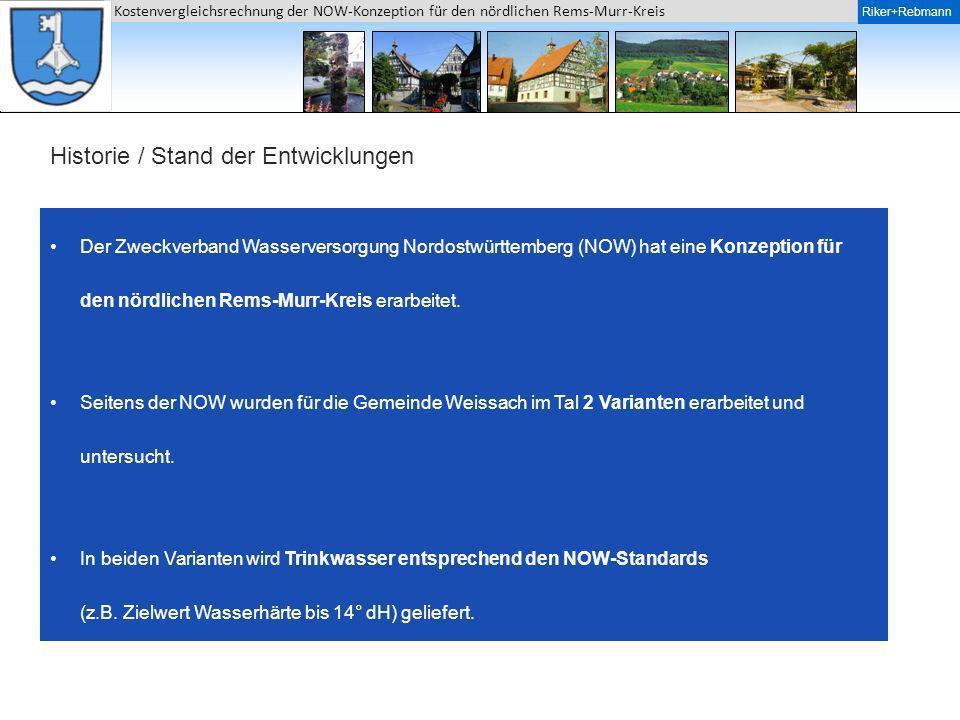 Riker + Rebmann Kostenvergleichsrechnung der NOW-Konzeption für den nördlichen Rems-Murr-Kreis Riker+Rebmann Historie / Stand der Entwicklungen Der Zw