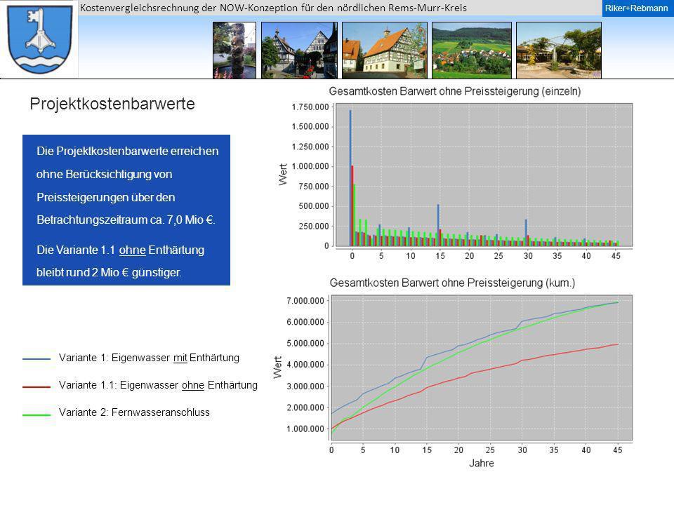 Riker + Rebmann Kostenvergleichsrechnung der NOW-Konzeption für den nördlichen Rems-Murr-Kreis Riker+Rebmann Projektkostenbarwerte Die Projektkostenba