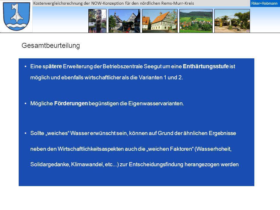 Riker + Rebmann Kostenvergleichsrechnung der NOW-Konzeption für den nördlichen Rems-Murr-Kreis Riker+Rebmann Gesamtbeurteilung Eine spätere Erweiterun