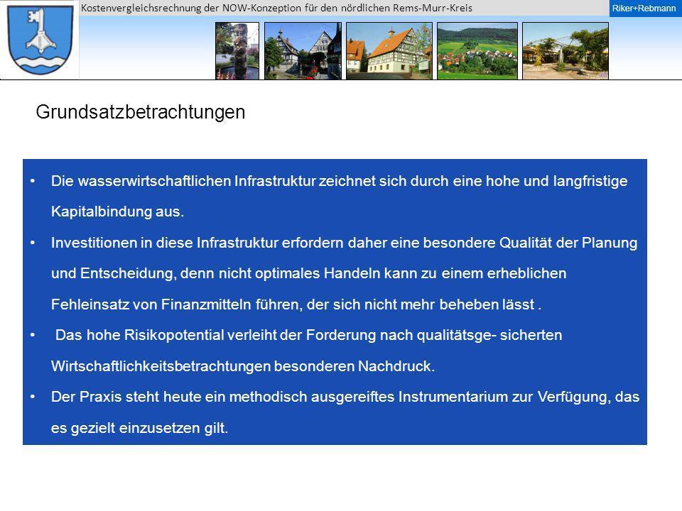 Riker + Rebmann Kostenvergleichsrechnung der NOW-Konzeption für den nördlichen Rems-Murr-Kreis Riker+Rebmann Finanzmathematische Aufbereitung der Kosten Die in den.