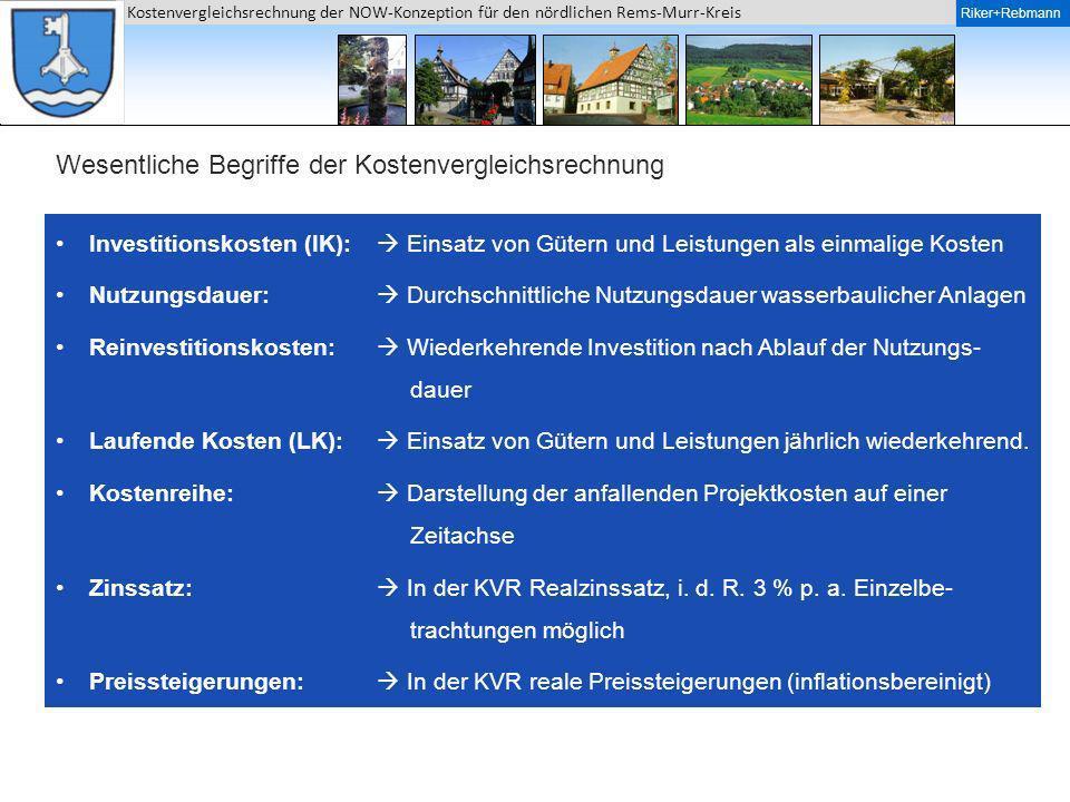 Riker + Rebmann Kostenvergleichsrechnung der NOW-Konzeption für den nördlichen Rems-Murr-Kreis Riker+Rebmann Wesentliche Begriffe der Kostenvergleichs