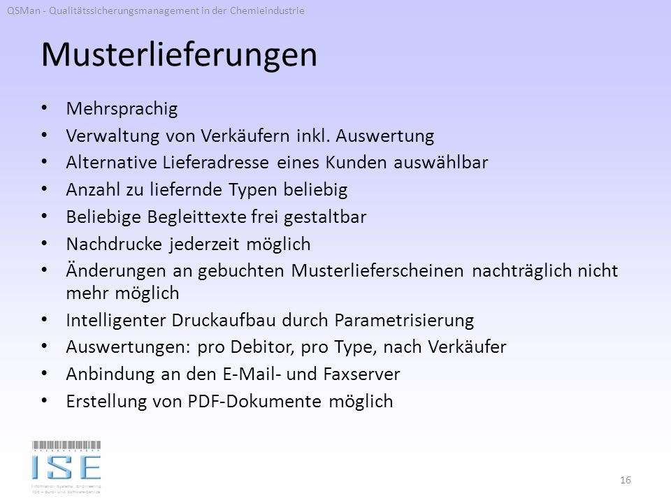 Information Systems Engineering ISE – Büro- und Software-Service Musterlieferungen Mehrsprachig Verwaltung von Verkäufern inkl.