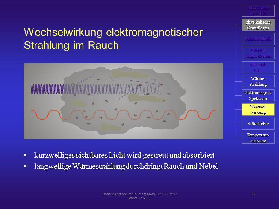 Branddirektion Frankfurt am Main / 37.23 Groß / Stand: 11/2003 11 Wechselwirkung elektromagnetischer Strahlung im Rauch kurzwelliges sichtbares Licht