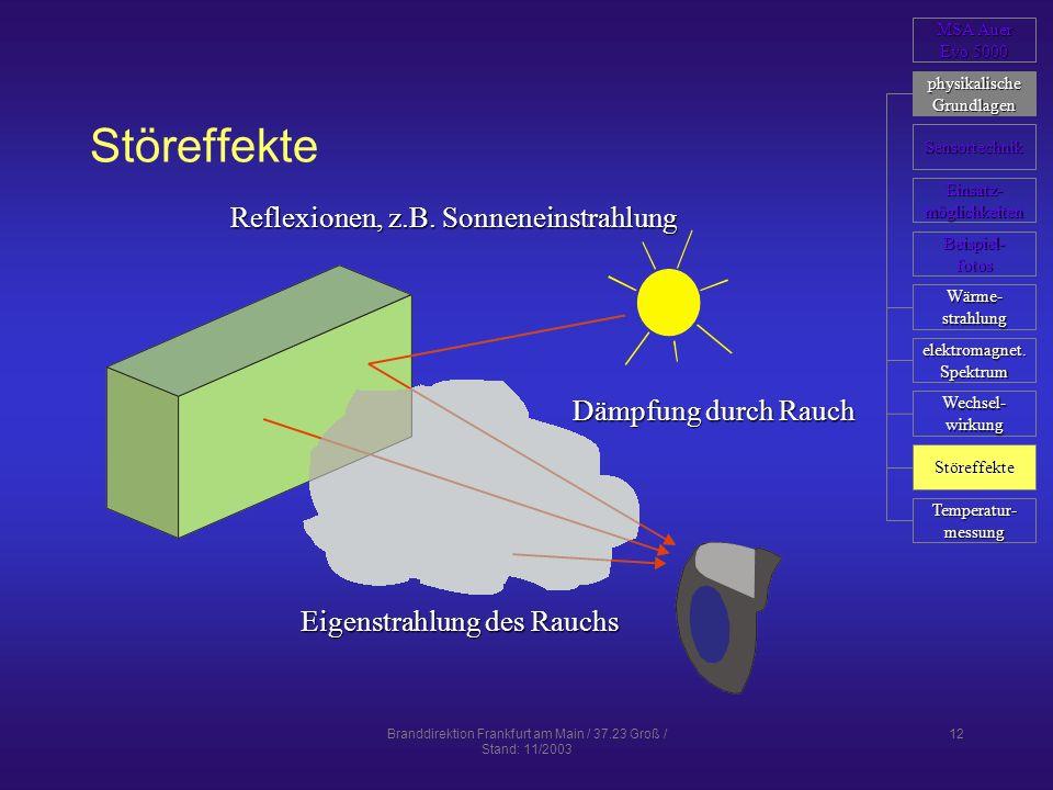 Branddirektion Frankfurt am Main / 37.23 Groß / Stand: 11/2003 12 Störeffekte Reflexionen, z.B. Sonneneinstrahlung Dämpfung durch Rauch Eigenstrahlung