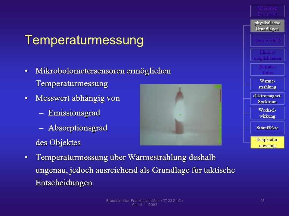 Branddirektion Frankfurt am Main / 37.23 Groß / Stand: 11/2003 13 Temperaturmessung Mikrobolometersensoren ermöglichen TemperaturmessungMikrobolometer