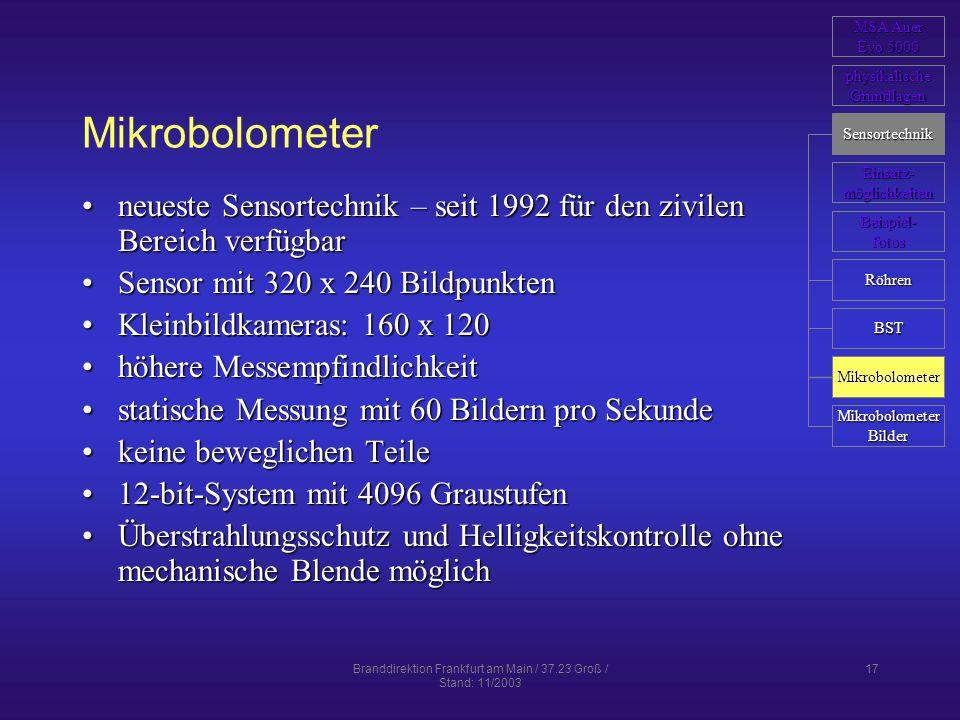 Branddirektion Frankfurt am Main / 37.23 Groß / Stand: 11/2003 17 Mikrobolometer neueste Sensortechnik – seit 1992 für den zivilen Bereich verfügbarne