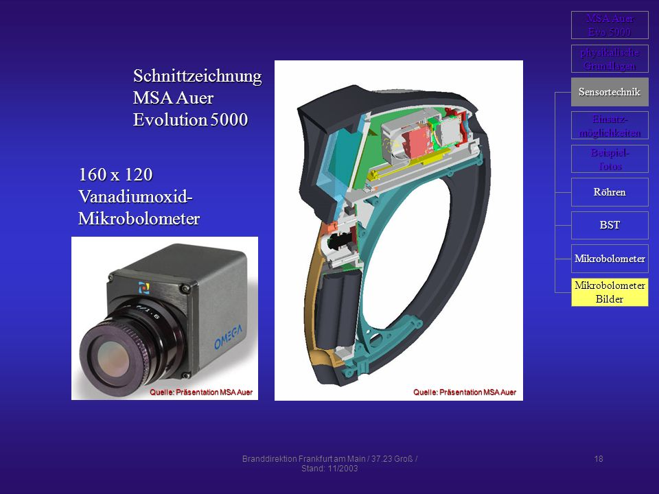 Branddirektion Frankfurt am Main / 37.23 Groß / Stand: 11/2003 18 Schnittzeichnung MSA Auer Evolution 5000 160 x 120 Vanadiumoxid-Mikrobolometer Quell