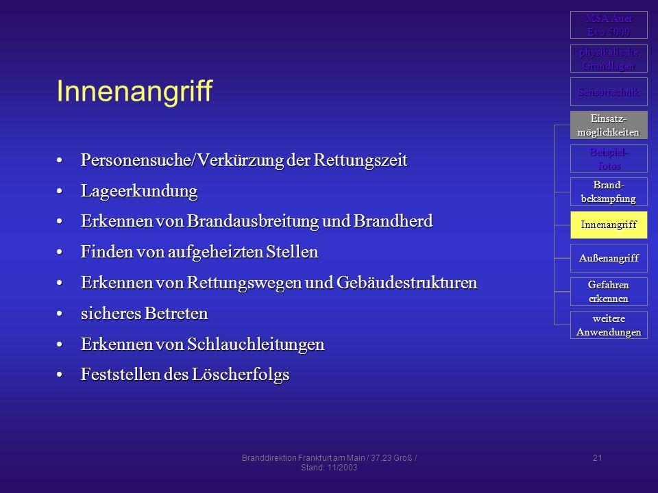 Branddirektion Frankfurt am Main / 37.23 Groß / Stand: 11/2003 21 Innenangriff Personensuche/Verkürzung der RettungszeitPersonensuche/Verkürzung der R