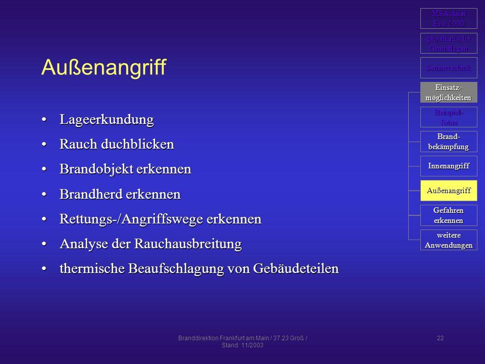 Branddirektion Frankfurt am Main / 37.23 Groß / Stand: 11/2003 22 Außenangriff LageerkundungLageerkundung Rauch duchblickenRauch duchblicken Brandobje