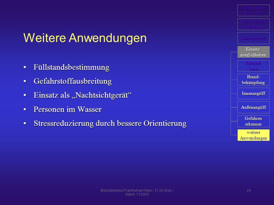 Branddirektion Frankfurt am Main / 37.23 Groß / Stand: 11/2003 24 Weitere Anwendungen FüllstandsbestimmungFüllstandsbestimmung GefahrstoffausbreitungG
