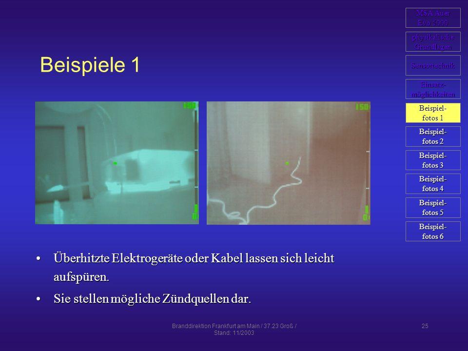 Branddirektion Frankfurt am Main / 37.23 Groß / Stand: 11/2003 25 Beispiele 1 Überhitzte Elektrogeräte oder Kabel lassen sich leicht aufspüren.Überhit