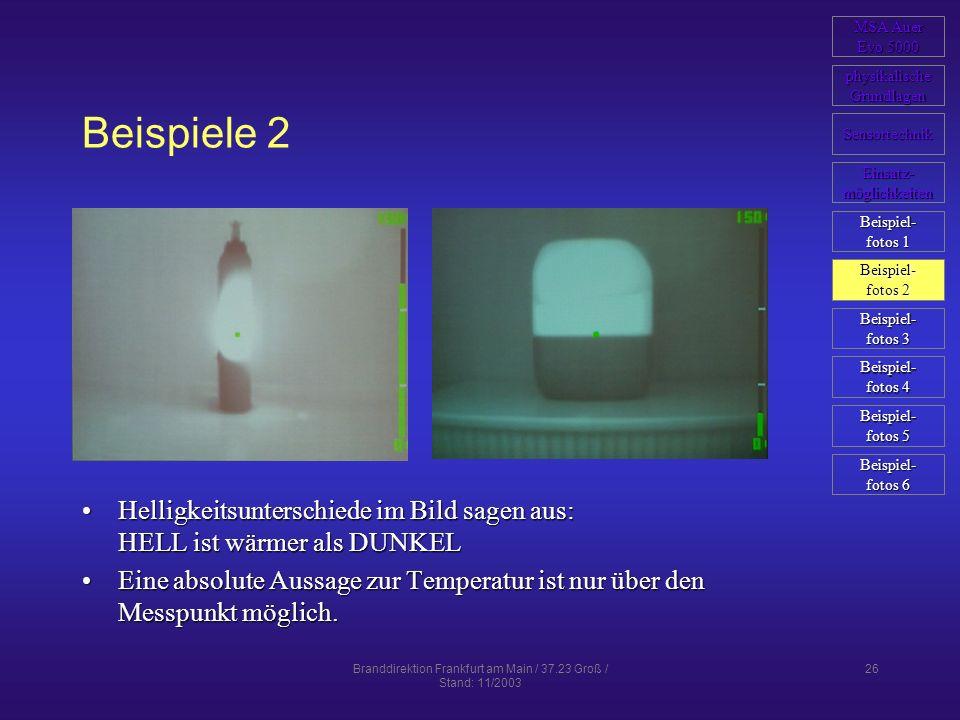 Branddirektion Frankfurt am Main / 37.23 Groß / Stand: 11/2003 26 Beispiele 2 Helligkeitsunterschiede im Bild sagen aus: HELL ist wärmer als DUNKELHel