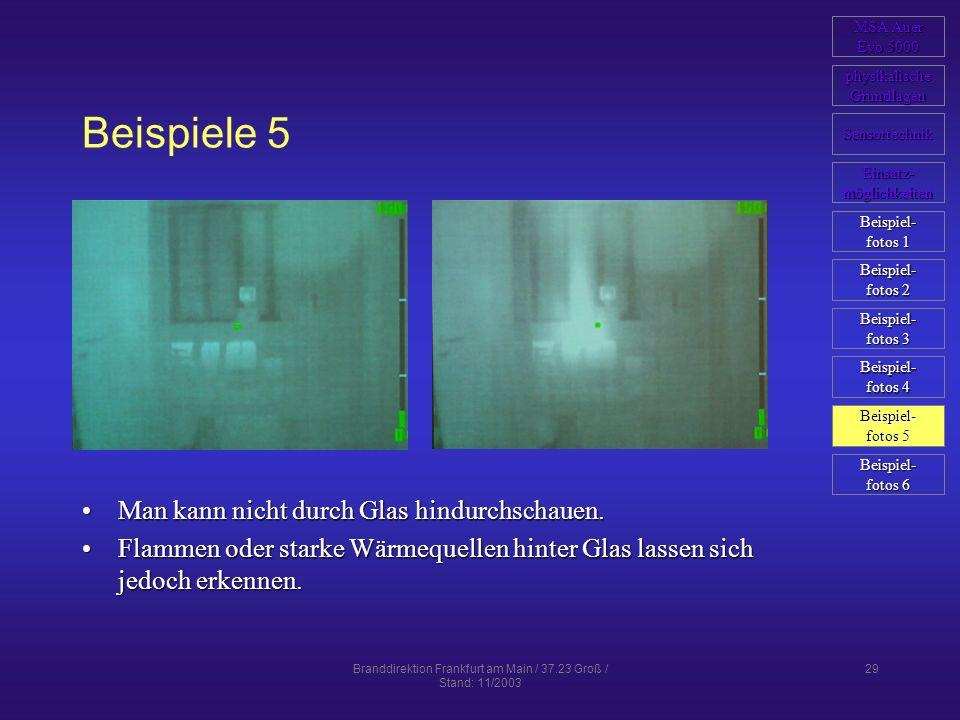 Branddirektion Frankfurt am Main / 37.23 Groß / Stand: 11/2003 29 Beispiele 5 Man kann nicht durch Glas hindurchschauen.Man kann nicht durch Glas hind