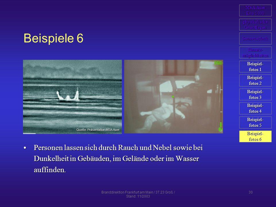 Branddirektion Frankfurt am Main / 37.23 Groß / Stand: 11/2003 30 Beispiele 6 Personen lassen sich durch Rauch und Nebel sowie bei Dunkelheit in Gebäu