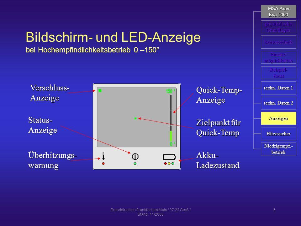 Branddirektion Frankfurt am Main / 37.23 Groß / Stand: 11/2003 5 Bildschirm- und LED-Anzeige bei Hochempfindlichkeitsbetrieb 0 –150° Verschluss-Anzeig