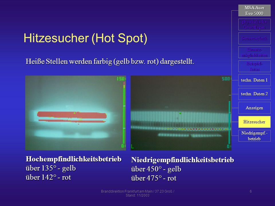 Branddirektion Frankfurt am Main / 37.23 Groß / Stand: 11/2003 17 Mikrobolometer neueste Sensortechnik – seit 1992 für den zivilen Bereich verfügbarneueste Sensortechnik – seit 1992 für den zivilen Bereich verfügbar Sensor mit 320 x 240 BildpunktenSensor mit 320 x 240 Bildpunkten Kleinbildkameras: 160 x 120Kleinbildkameras: 160 x 120 höhere Messempfindlichkeithöhere Messempfindlichkeit statische Messung mit 60 Bildern pro Sekundestatische Messung mit 60 Bildern pro Sekunde keine beweglichen Teilekeine beweglichen Teile 12-bit-System mit 4096 Graustufen12-bit-System mit 4096 Graustufen Überstrahlungsschutz und Helligkeitskontrolle ohne mechanische Blende möglichÜberstrahlungsschutz und Helligkeitskontrolle ohne mechanische Blende möglich MSA Auer MSA Auer Evo 5000 Evo 5000 physikalische Grundlagen Sensortechnik Röhren Beispiel- fotos Einsatz- möglichkeiten Mikrobolometer Bilder Mikrobolometer BST