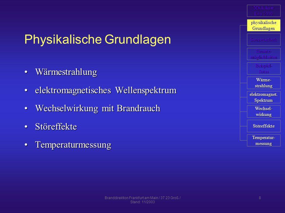 Branddirektion Frankfurt am Main / 37.23 Groß / Stand: 11/2003 19 Einsatzmöglichkeiten der WBK Man kann Temperaturunterschiede feststellenTemperaturunterschiede feststellen Temperaturen bestimmenTemperaturen bestimmen durch Rauch und Nebel sowie bei Dunkelheit sehendurch Rauch und Nebel sowie bei Dunkelheit sehen berührungslos über größere Entfernungen arbeitenberührungslos über größere Entfernungen arbeiten nicht durch Wände und feste Oberflächen sehennicht durch Wände und feste Oberflächen sehen nicht durch Wasser und andere Flüssigkeiten sehennicht durch Wasser und andere Flüssigkeiten sehen nicht durch Glas sehennicht durch Glas sehen schwer Gase detektierenschwer Gase detektieren MSA Auer MSA Auer Evo 5000 Evo 5000 physikalische Grundlagen Sensortechnik Brand- bekämpfung Beispiel- fotos Einsatz- möglichkeiten weitere Anwendungen Gefahren erkennen Außenangriff Innenangriff