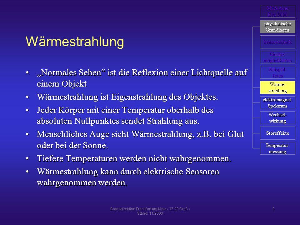 Branddirektion Frankfurt am Main / 37.23 Groß / Stand: 11/2003 9 Wärmestrahlung Normales Sehen ist die Reflexion einer Lichtquelle auf einem ObjektNor