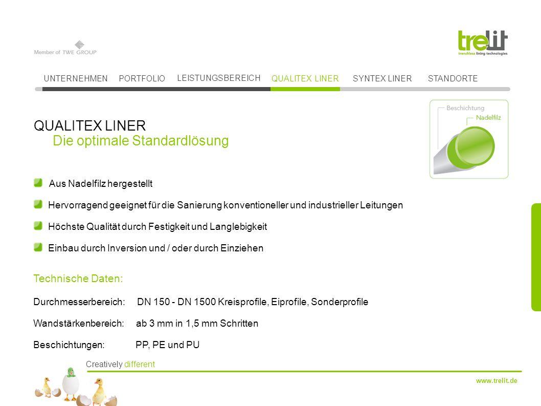 Creatively different www.trelit.de Aus Nadelfilz hergestellt Hervorragend geeignet für die Sanierung konventioneller und industrieller Leitungen Höchs