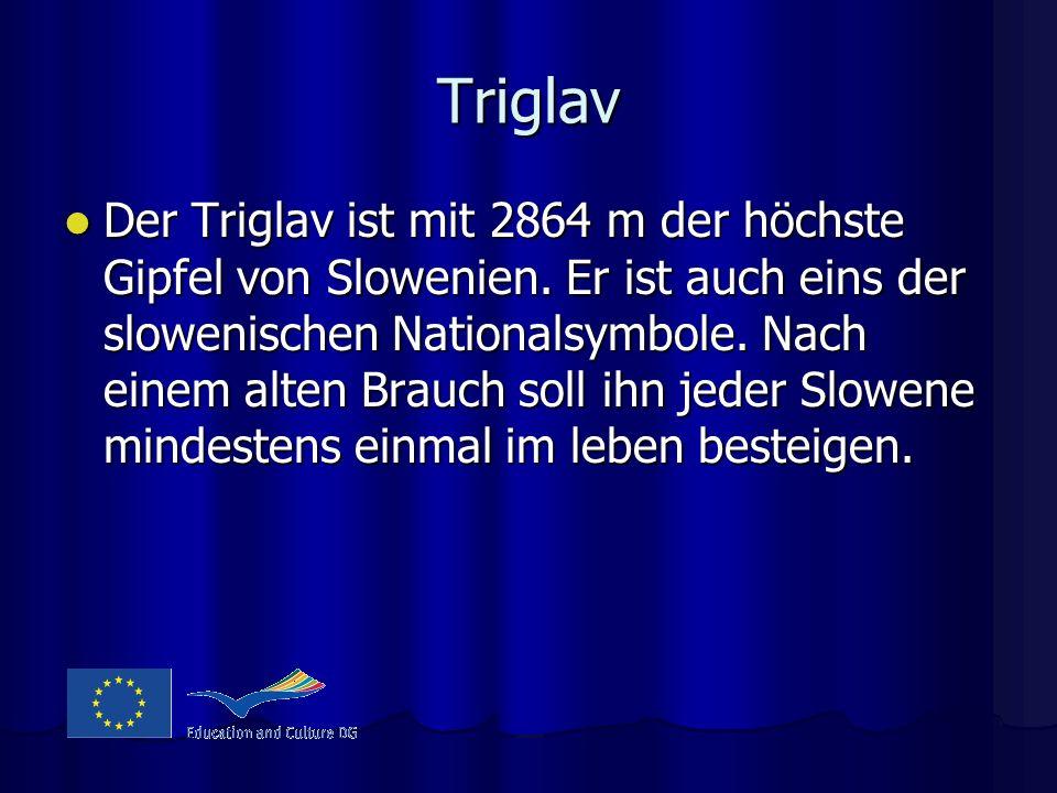 Triglav Der Triglav ist mit 2864 m der höchste Gipfel von Slowenien. Er ist auch eins der slowenischen Nationalsymbole. Nach einem alten Brauch soll i