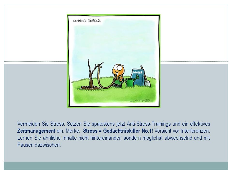 Vermeiden Sie Stress: Setzen Sie spätestens jetzt Anti-Stress-Trainings und ein effektives Zeitmanagement ein. Merke: Stress = Gedächtniskiller No.1 !