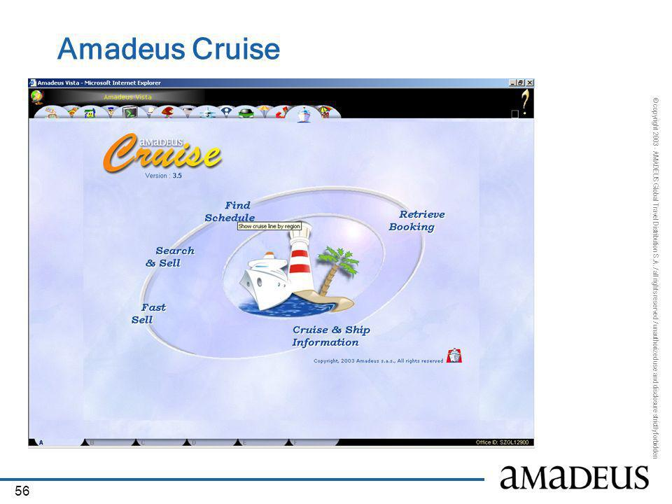 © copyright 2003 - AMADEUS Global Travel Distribution S.A. / all rights reserved / unauthorized use and disclosure strictly forbidden 56 Amadeus Cruis